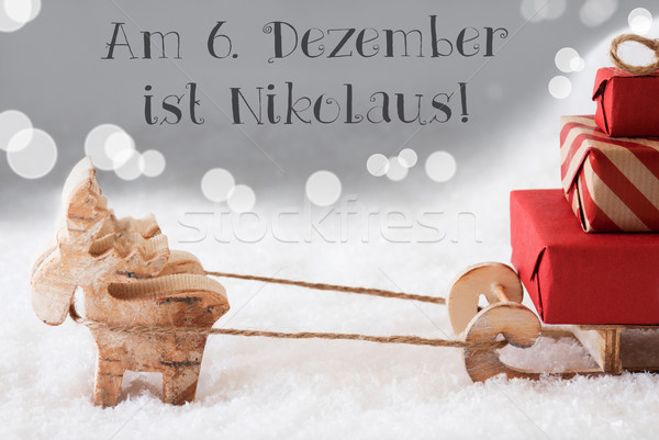 Reindeer With Sled, Silver Background, Nikolaus Means Nicholas Day Stock photo © Nelosa