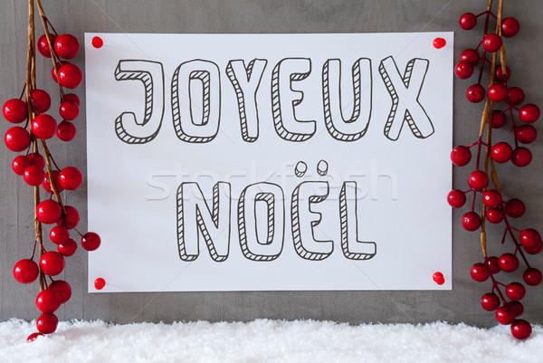 Label, Snow, Decoration, Joyeux Noel Means Merry Christmas Stock photo © Nelosa