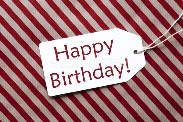 Label On Red Wrapping Paper, Text Happy Birthday Stock photo © Nelosa