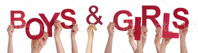 People Hands Holding Red Word Boys Girls  Stock photo © Nelosa