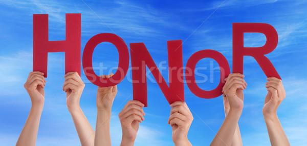 çok insanlar eller kırmızı kelime Stok fotoğraf © Nelosa
