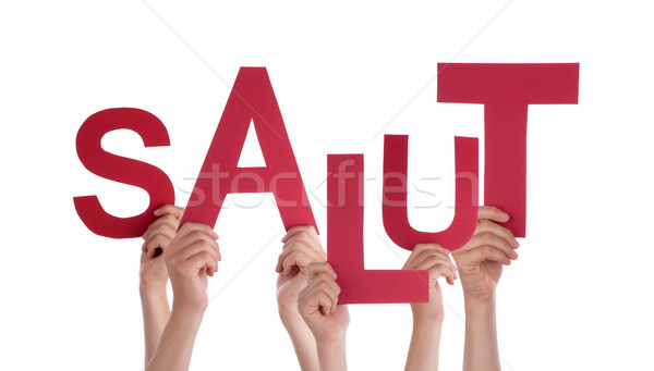 People Holding French Word Salut Means Hello Stock photo © Nelosa