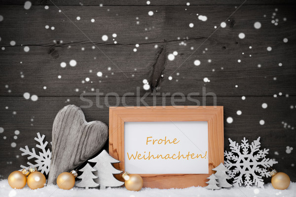 Golden Gray Decoration,Snow,Weihnachten Mean Christmas,Snowflake Stock photo © Nelosa
