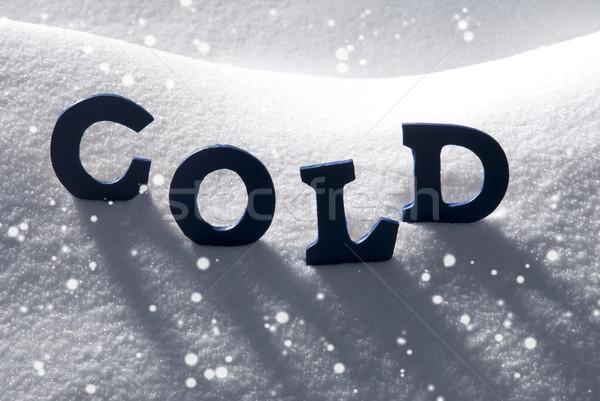 Blue Word Cold On Snow, Snowflakes Stock photo © Nelosa