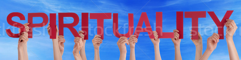 Many People Hands Holding Red Straight Word Spirituality Blue Sk Stock photo © Nelosa