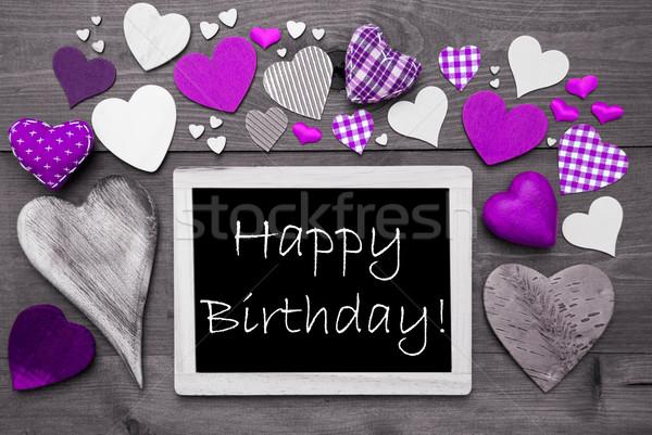 Chalkbord With Many Purple Hearts, Happy Birthday Stock photo © Nelosa