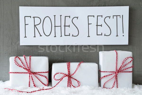 White Gift On Snow, Frohes Fest Means Merry Christmas Stock photo © Nelosa