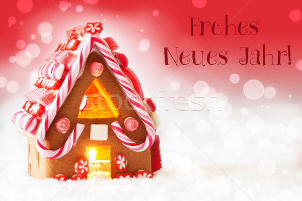 Gingerbread House, Red Background, Text Neues Jahr Means New Year Stock photo © Nelosa