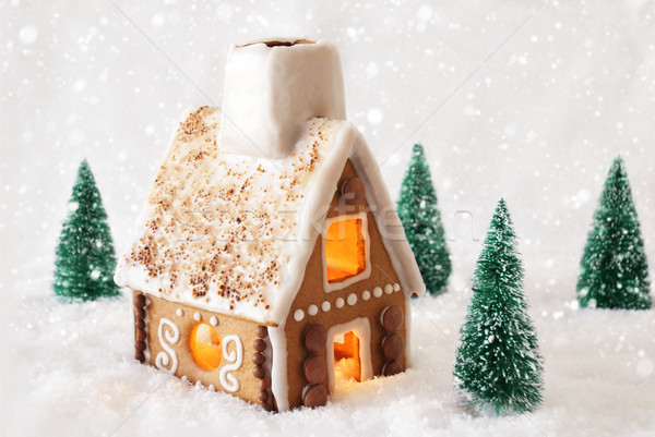 Gingerbread House On Snow With Snowflakes And White Background Stock photo © Nelosa