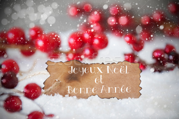 Burnt Label, Snow, Snowflakes, Bonne Annee Means New Year Stock photo © Nelosa