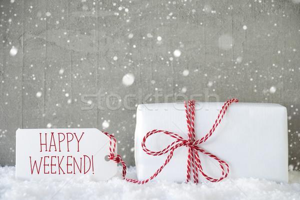 Cadeau ciment flocons de neige texte heureux week-end Photo stock © Nelosa