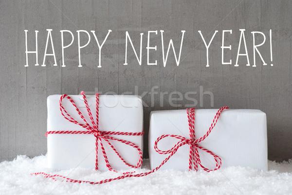 Stok fotoğraf: Iki · hediyeler · kar · metin · happy · new · year · İngilizce