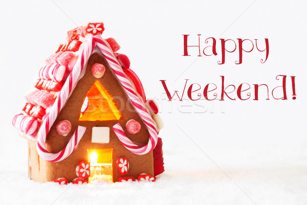 Gingerbread House, White Background, Text Happy Weekend Stock photo © Nelosa