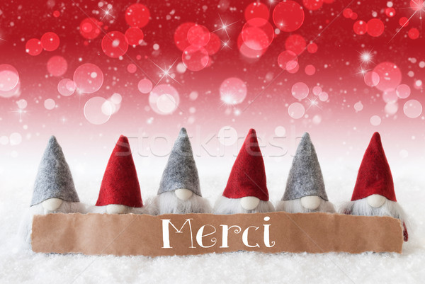 Gnomes, Red Background, Bokeh, Stars, Merci Means Thank You Stock photo © Nelosa