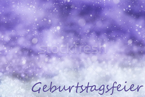 Purple Christmas Background, Snowflakes, Geburtstagsfeier Means Birthday Party Stock photo © Nelosa