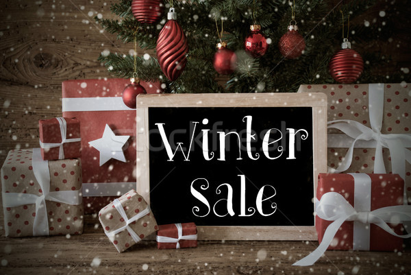 Nostalgic Christmas Tree With Winter Sale, Snowflakes Stock photo © Nelosa