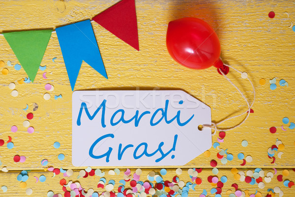 Party Label, Confetti, Balloon, Text Mardi Gras Stock photo © Nelosa