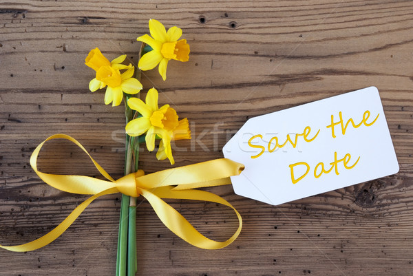 Yellow Spring Narcissus, Label, Text Save The Date Stock photo © Nelosa