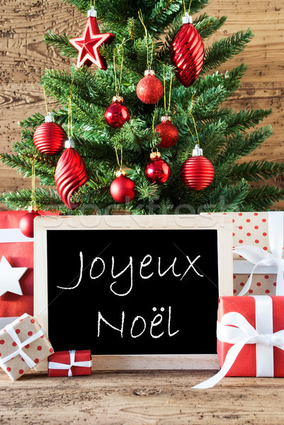 Colorful Tree With Text Joyeux Noel Means Merry Christmas Stock photo © Nelosa