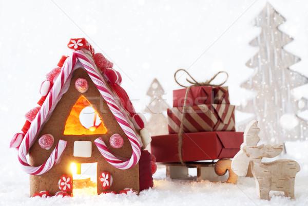 Pan di zenzero casa fiocchi di neve Moose albero scenario Foto d'archivio © Nelosa