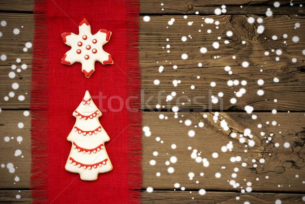 Cookies on Snowy Wooden Background Stock photo © Nelosa