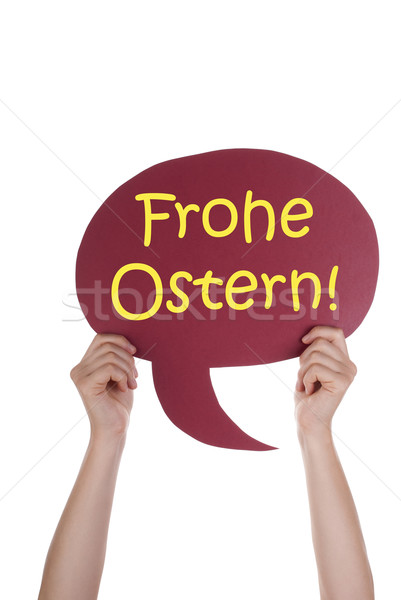 Red Speech Balloon With German Frohe Ostern Means Happy Easter Stock photo © Nelosa