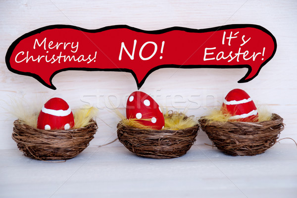Three Red Easter Eggs With Comic Speech Balloon Telling A Joke Stock photo © Nelosa