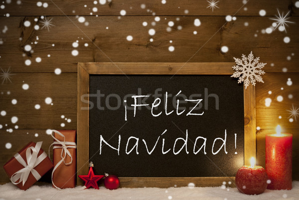 Card, Blackboard, Snowflakes, Feliz Navidad Mean Merry Christmas Stock photo © Nelosa
