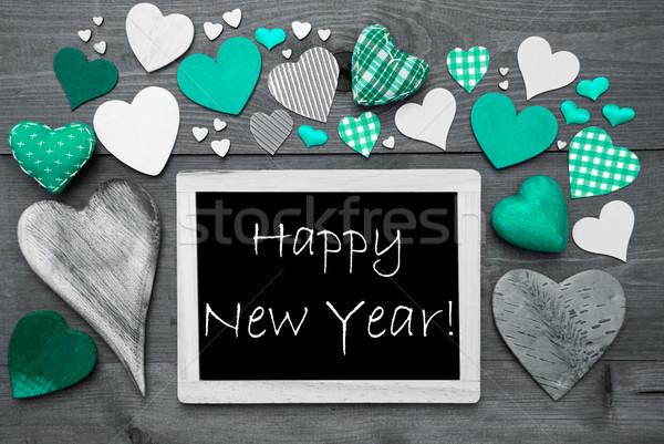 Black And White Chalkbord, Many Green Hearts, Happy New Year Stock photo © Nelosa