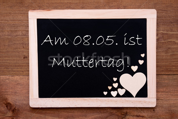 Blackboard With Hearts, 8 Mai Muttertag Means Happy Mothers Day Stock photo © Nelosa