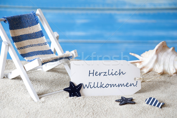 Stock photo: Summer Label With Deck Chair, Willkommen Means Welcome
