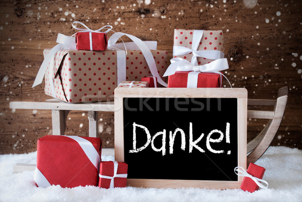 Sleigh With Gifts, Snow, Snowflakes, Danke Means Thank You Stock photo © Nelosa