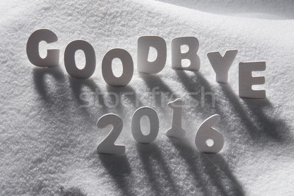 Szöveg viszlát 2016 fehér levelek hó Stock fotó © Nelosa