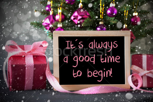 Tree With Gifts, Snowflakes, Bokeh, Quote Always Good Time Begin Stock photo © Nelosa