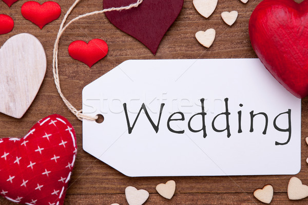 Stock photo: Label, Red Hearts, Flat Lay, Text Wedding