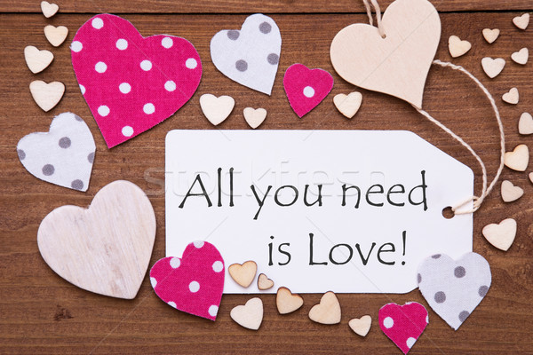 Label, Pink Hearts, Quote All You Need Is Love Stock photo © Nelosa