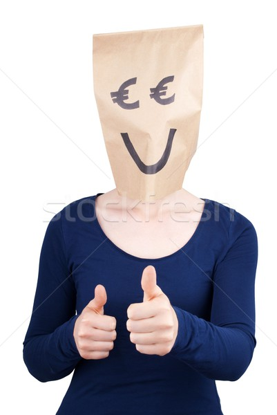 happy smiling person with euro paper bag head Stock photo © Nelosa