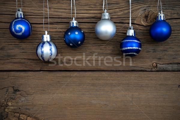 Blue and Silver Christmas Tree Balls on Wood Stock photo © Nelosa