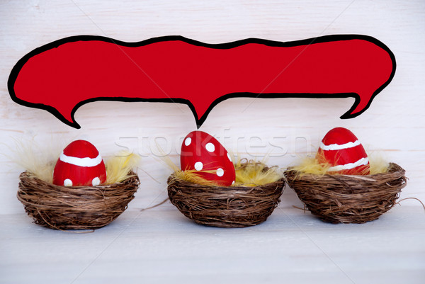 Three Red Easter Eggs With Comic Speech Balloon With Copy Space Stock photo © Nelosa