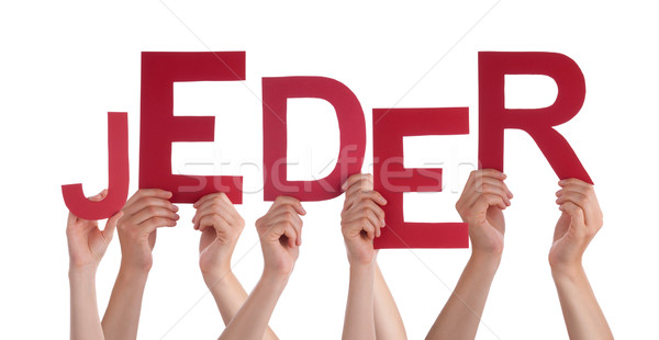 People Holding German Word Jeder Means Anybody Stock photo © Nelosa