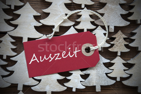 Red Christmas Label With Auszeit Means Downtime Stock photo © Nelosa