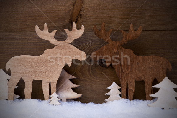 Christmas Decoration, Moose Couple In Love, Trees And Snow Stock photo © Nelosa