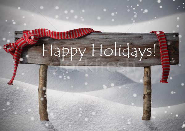 Stock photo: Brown Christmas Sign Happy Holidays, Snow, Red Ribbon, Snowflake