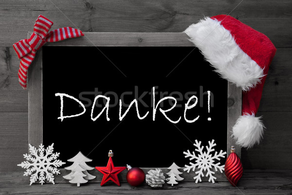 Blackboard Santa Hat Christmas Decoration Danke Means Thank You  Stock photo © Nelosa