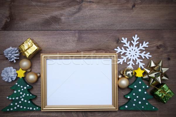 çerçeve Noel dekorasyon bo altın resim çerçevesi Stok fotoğraf © Nelosa