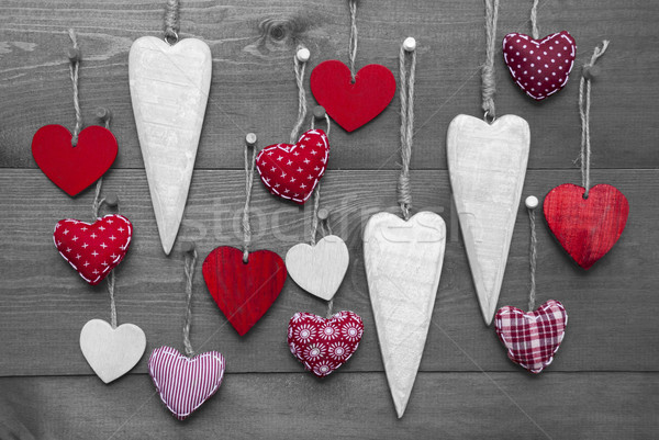 Black And White Image With Red Hearts For Valentines Daecoration Stock photo © Nelosa