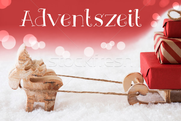 Reindeer With Sled, Red Background, Adventszeit Means Advent Season Stock photo © Nelosa