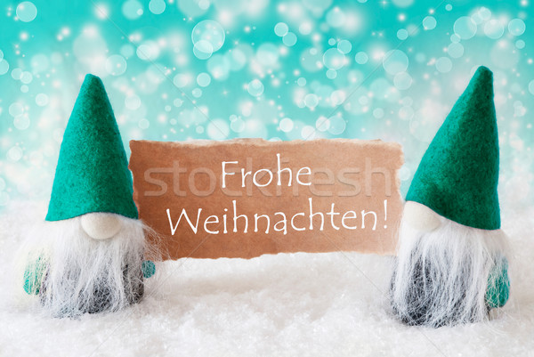 Turqoise Gnomes With Card, Frohe Weihnachten Means Merry Christmas Stock photo © Nelosa