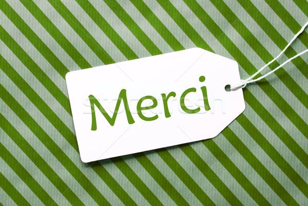 Etiqueta verde papel de embrulho obrigado um listrado Foto stock © Nelosa