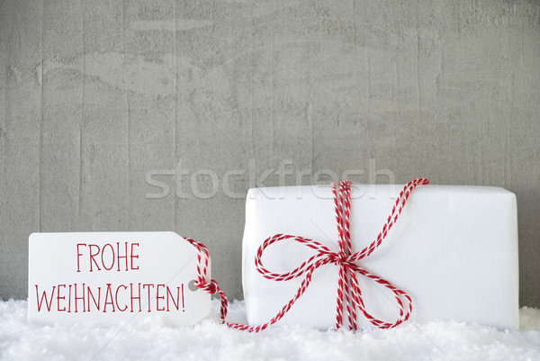 One Gift, Urban Cement Background, Frohe Weihnachten Means Merry Christmas Stock photo © Nelosa